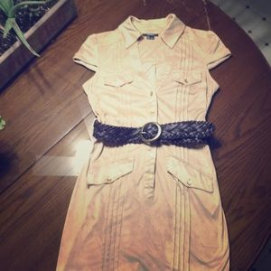 Tan Belted Dress